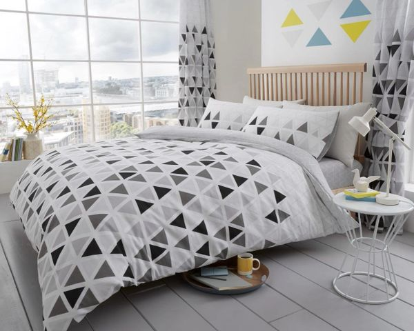 Geo Triangle grey cotton blend duvet cover