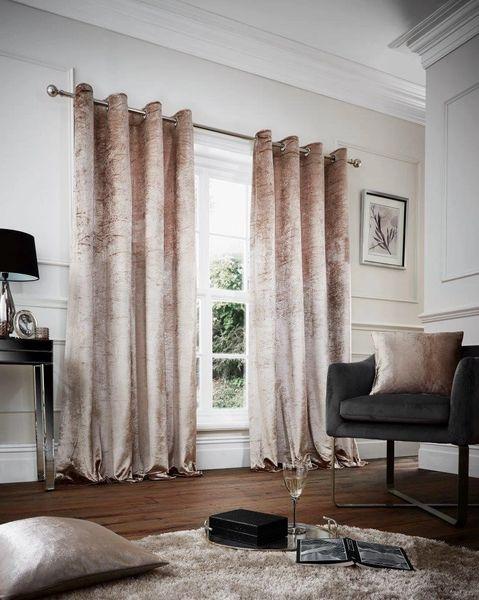 Crushed velvet champagne eyelet curtains