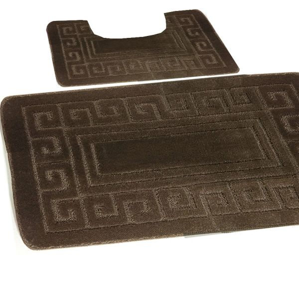 Latte Greek style 2 piece bath mat set