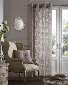 Flock damask silver voile eyelet curtain panel