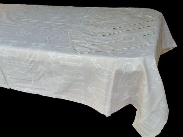 Utensils beige & white rectangle table cloth & napkin set