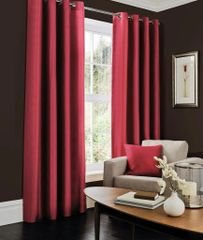 Faux silk fuchsia eyelet curtains