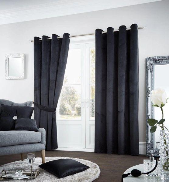 Riviara velvet black eyelet curtains