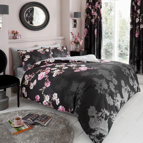 Roseanne black cotton blend duvet cover