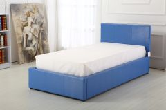 Boston blue faux leather single ottoman storage bed