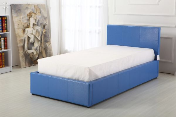 Blue faux leather single ottoman storage bed