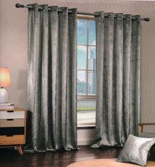 Crushed velvet silver eyelet curtains
