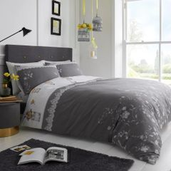 Lucy grey cotton blend duvet cover
