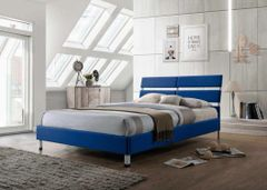 Eden blue single fabric bed