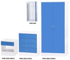 Alpha blue gloss & white 3 piece bedroom furniture set