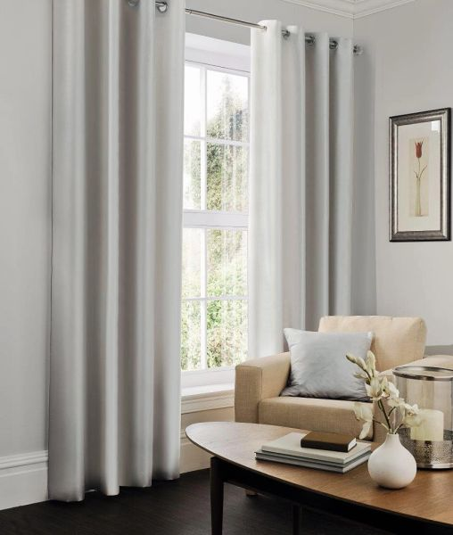 Faux silk silver eyelet curtains
