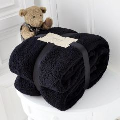 Teddy fleece plain black throw