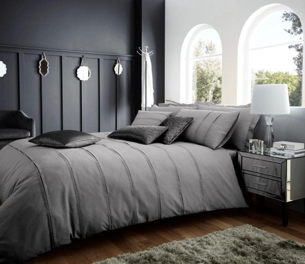 Schema silver cotton blend duvet cover