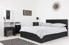Black fabric ottoman storage bed