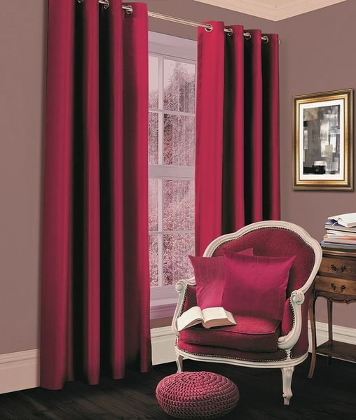 Thermal blackout fuchsia eyelet curtains