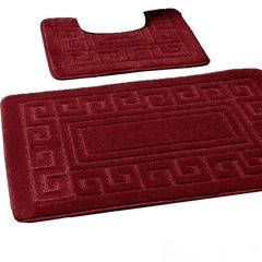 Burgundy Greek style 2 piece bath mat set