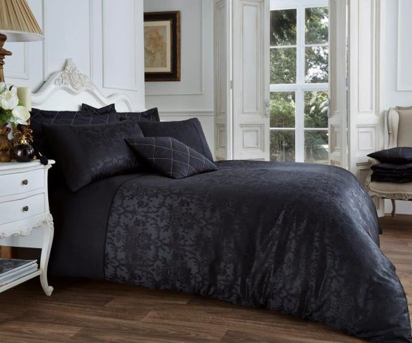 Vincenza black cotton blend duvet cover