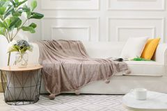 Pom Pom two tone speckled natural faux fur throw