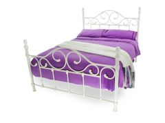 Valerio white metal bed frame
