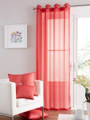 Swiss voile red eyelet curtain panel
