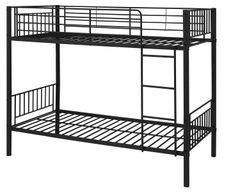 Black single metal bunk beds