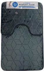 Grey cube memory foam 2 piece bath mat set