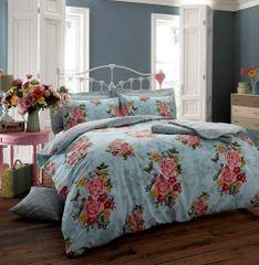 Ava teal cotton blend duvet cover