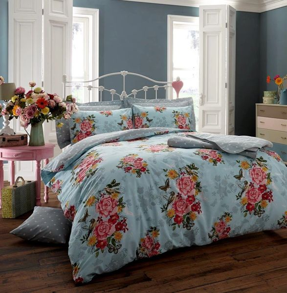 Ava teal cotton blend duvet cover