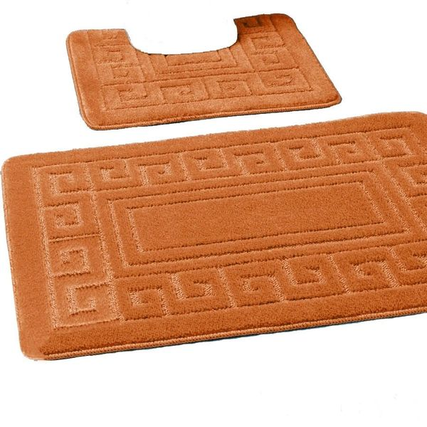 Terracotta Greek style 2 piece bath mat set