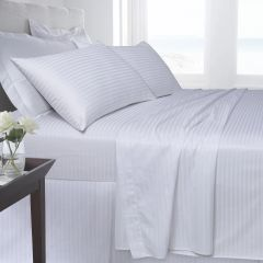 White Egyptian Cotton Satin Stripe 200 TC duvet cover