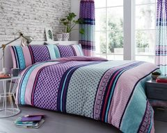 Charter Stripe berry cotton blend duvet cover