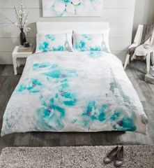 Tinted Dream teal duvet cover