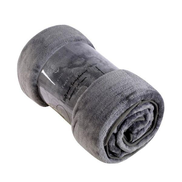 Plain charcoal mink faux fur throw / blanket