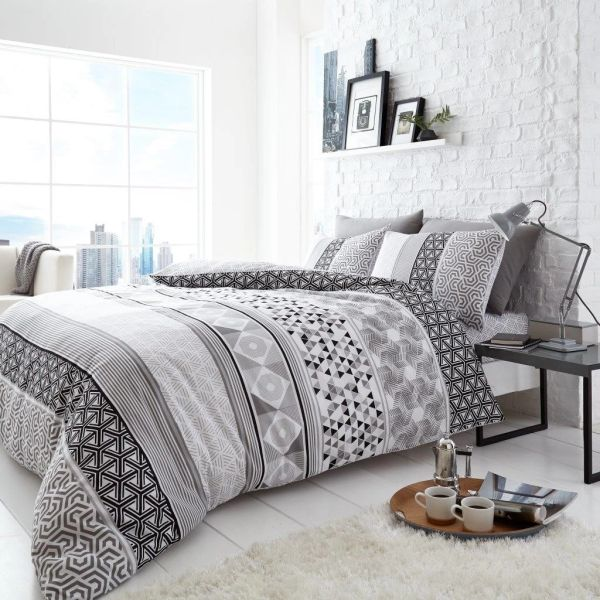 Helsby grey cotton blend duvet cover