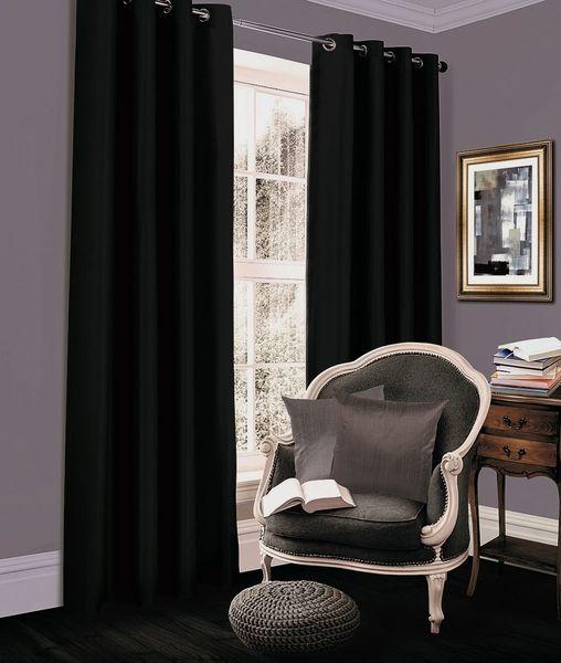 Thermal blackout black eyelet curtains