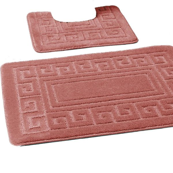Dusty Pink Greek style 2 piece bath mat set
