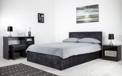 Black crushed velvet ottoman storage bed