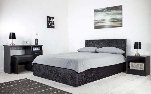 Black crushed velvet ottoman storage bed
