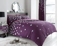 Be Jewelled aubergine cotton blend duvet cover