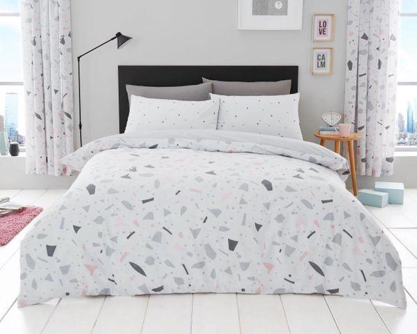 Terrazzo grey cotton blend duvet cover