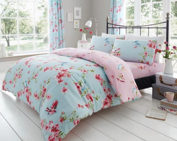 Birdie Blossom light blue cotton blend duvet cover