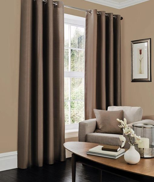 Faux silk brown eyelet curtains