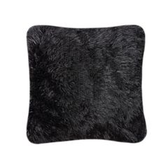 Fluffy fur black cushion cover