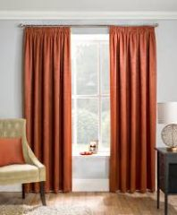 Matrix orange blockout pencil pleat curtains