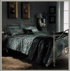 Leopard print silver kingsize 5 piece bed set