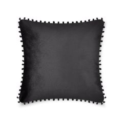Pom pom black cushion cover