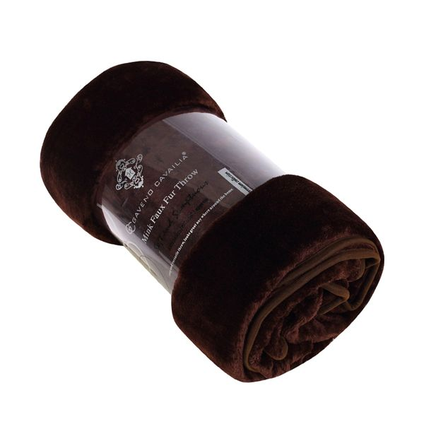 Plain chocolate mink faux fur throw / blanket