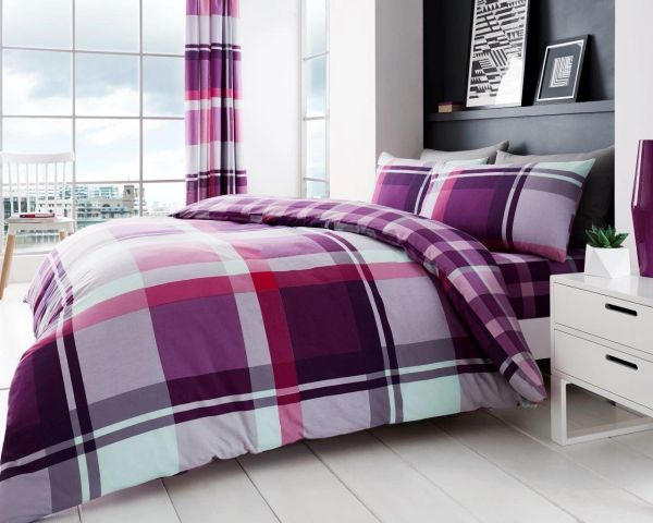 Waverly Check purple duvet cover