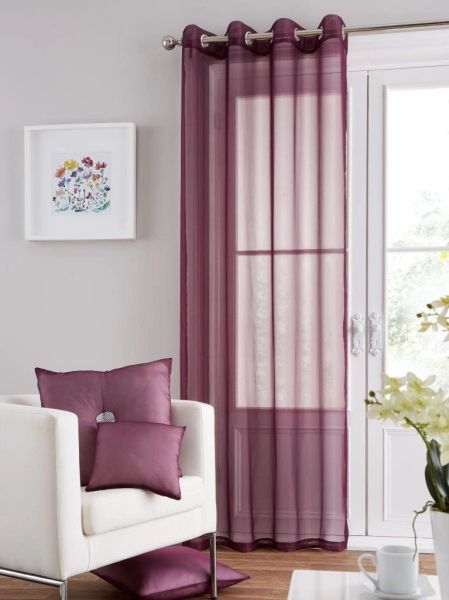 Swiss voile aubergine eyelet curtain panel