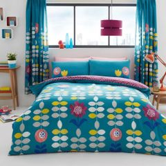 Hanson teal cotton blend duvet cover
